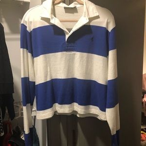 Blue & White Striped Polo Rugby Bella Hadid Size L
